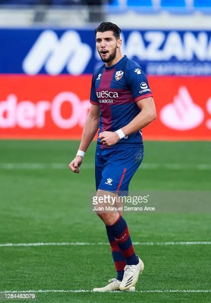 Rafael Mir of SD Huesca celebrates after scoring goal during the La Liga Santander match between SD Huesca and SD Eibar at Estadio El Alcoraz on...