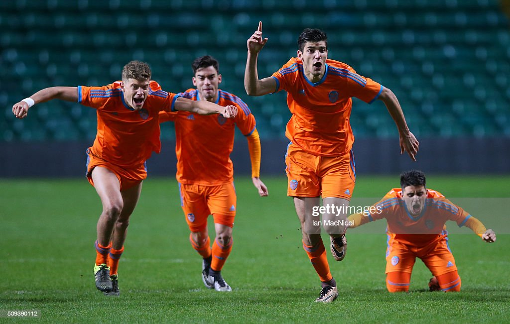 Rafael Mir of Valencia leads the celebrates as they win the penalty shoot out during the UEFA Youth Champions League match between Celtic and Valencia at Celtic Park on February 10, 2016 in Glasgow, Scotland.