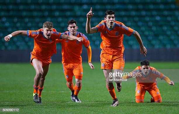 Rafael Mir of Valencia leads the celebrates as they win the penalty shoot out during the UEFA Youth Champions League match between Celtic and...