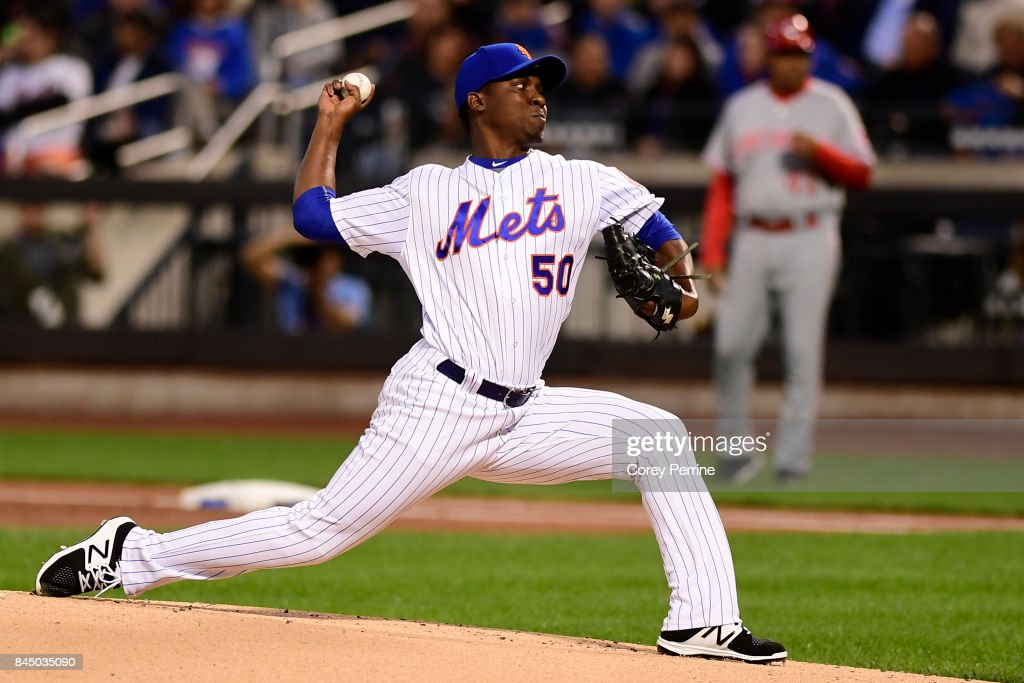 Rafael Montero #50 of the New York Mets pitches against the Cincinnati Reds during the first inning at Citi Field on September 9, 2017 in the Flushing neighborhood of the Queens borough of New York City.