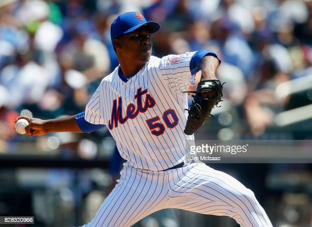 Rafael Montero of the New York Mets pitches in the second inning against the Texas Rangers at Citi Field on August 9 2017 in the Flushing...