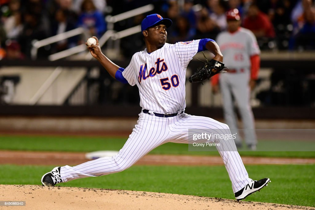 Rafael Montero #50 of the New York Mets pitches to the Cincinnati Reds during the fifth inning at Citi Field on September 9, 2017 in the Flushing neighborhood of the Queens borough of New York City.