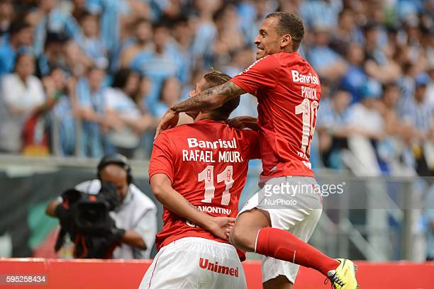 Rafael Moura and Alan Patrick celebration in the Gaucho championship final match between Gremio and Internacional of Porto Alegre, played at the...