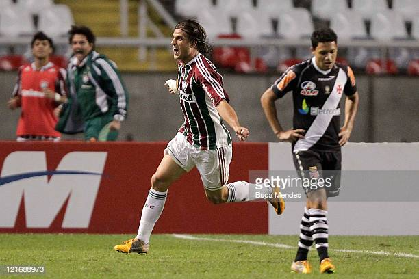 Rafael Moura of Fluminense celebrates a scored goal againist Vasco during a match as part of Serie A 2011 at Engenhao stadium on August 21, 2011 in...