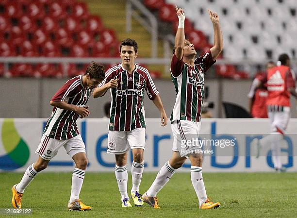 Rafael Moura of Fluminense celebrates a scored goal againist Vasco during a match as part of Serie A 2011 at Engenhao stadium on August 21 2011 in...