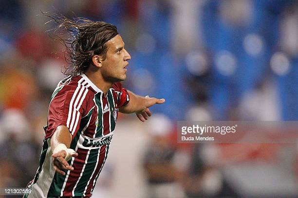 Rafael Moura of Fluminense celebrates scored goal during a match as part of Serie A 2011 at Engenhao stadium on August 17 2011 in Rio de Janeiro...