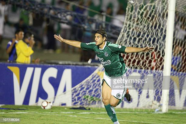 Rafael Moura of Goias celebrates a scored goal against Independiente during a match as part of the 2010 Copa Nissan Sudamericana at Serra Dourada...