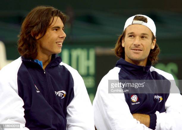 Rafael Nadal and Carlos Moya during 2004 Davis Cup Final Draw Ceremony at Seville in Seville Spain