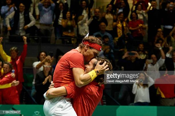 Rafael Nadal and Feliciano Lopez of Spain celebrate the victory in their semi final doubles match against Jamie Murray and Neal Skupski of Great...