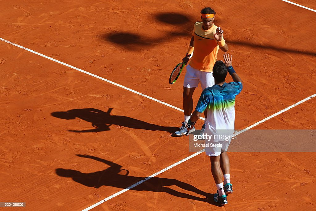 Rafael Nadal and Fernando Verdasco of Spain celebrate their straight sets victory in the doubles against Philipp Kohlschreiber of Germany and Viktor Troicki of Serbia during day two of the Monte Carlo Rolex Masters at Monte-Carlo Sporting Club on April 11, 2016 in Monte-Carlo, Monaco.