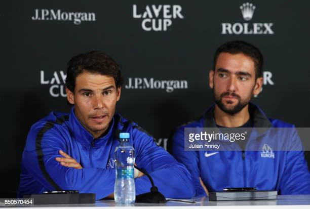 Rafael Nadal and Marin Cilic of Team Europe attend a press conference during previews ahead of the Laver Cup on September 21 2017 in Prague Czech...