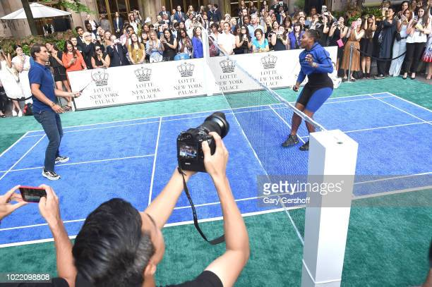 Rafael Nadal and Serena Williams compete during the 2018 Palace Invitational Badminton Tournament at Lotte New York Palace on August 23 2018 in New...
