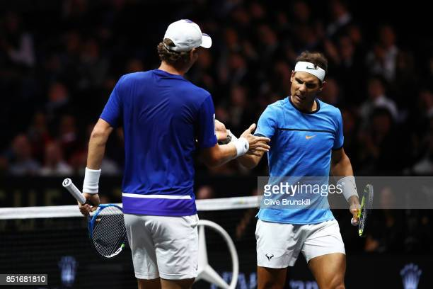 Rafael Nadal and Tomas Berdych of Team Europe celebrate winning a point during there doubles match against Nick Kyrgios ans Jack Sock of Team World...