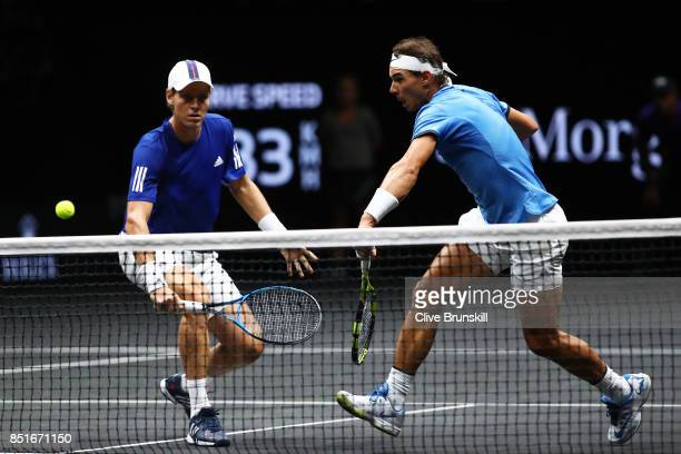 Rafael Nadal and Tomas Berdych of Team Europe in action during there doubles match against Nick Kyrgios ans Jack Sock of Team World on the first day...