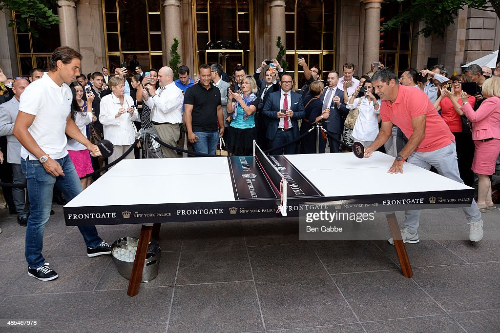 Rafael Nadal (L) and Toni Nadal join The New York Palace for a Courtyard Cocktail Celebration at The New York Palace Hotel on August 27, 2015 in New York City.