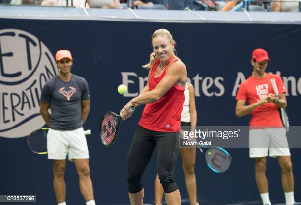 Rafael Nadal Angelique Kerber and Novak Djokovic attend the 2018 Arthur Ashe Kids' Day at USTA Billie Jean King National Tennis Center on August 25...