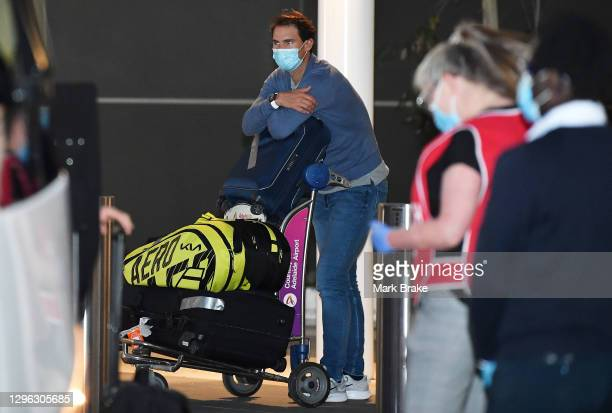 Rafael Nadal arrives at Adelaide Airport on January 14, 2021 in Adelaide, Australia. All players and staff arriving in Adelaide for the Australian...