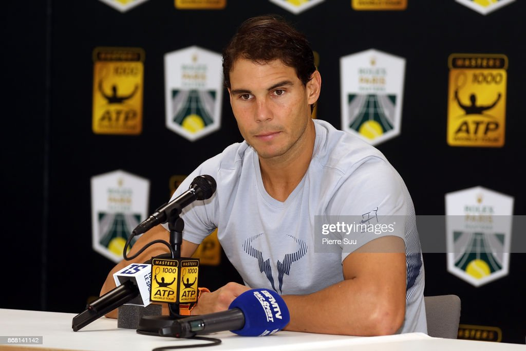 Rafael Nadal attends a press conference during Day 1 of the Rolex Paris Masters at AccorHotels Arena on October 30, 2017 in Paris, France.