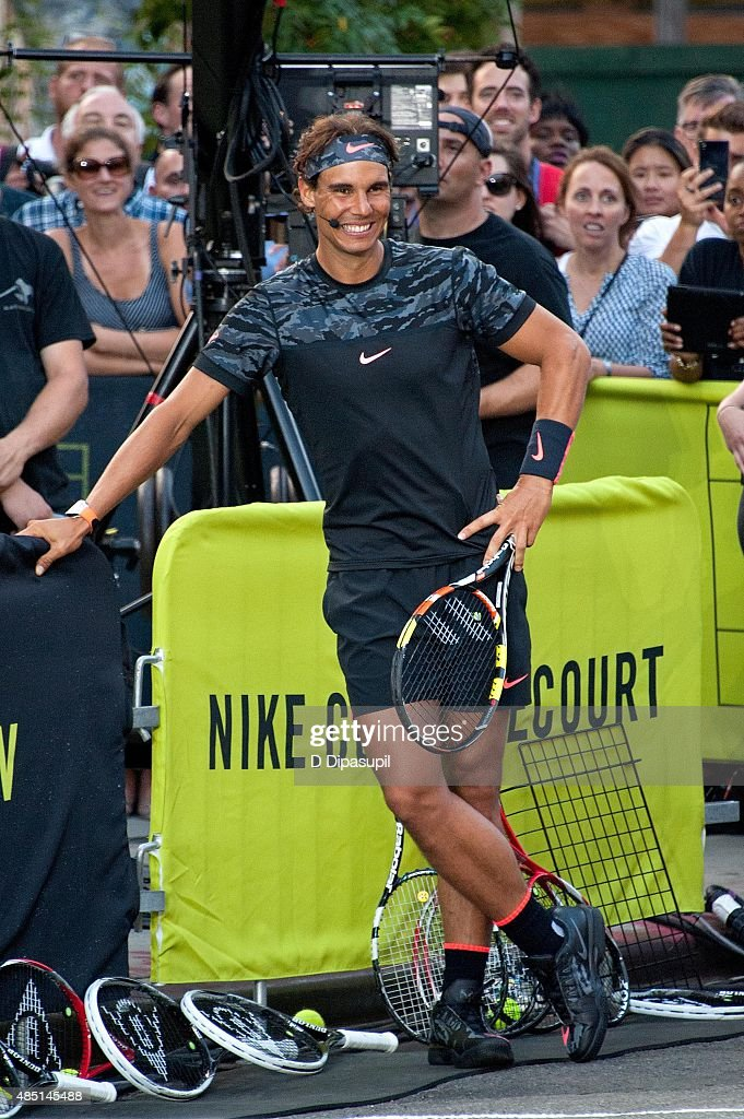 Rafael Nadal attends Nike's 'NYC Street Tennis' event on August 24, 2015 in New York City.