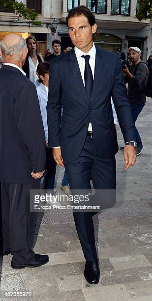 Rafael Nadal attends the funeral chapel for his grandfather the musician Rafael Nadal on September 8 2015 in Palma de Mallorca Spain
