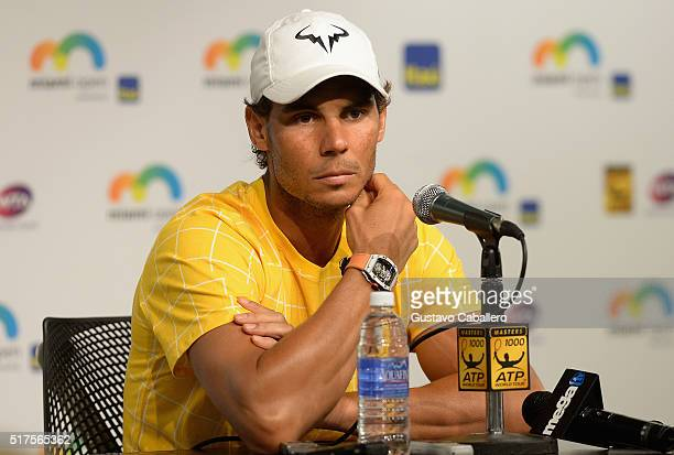 Rafael Nadal attends the Miami Open Celebrity Sightings at Crandon Park Tennis Center on March 25 2016 in Key Biscayne Florida