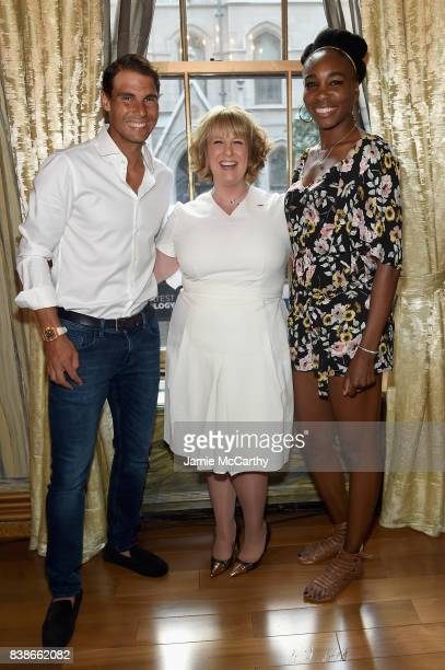 Rafael Nadal Becky Hubbard and Venus Williams attend the 2017 Lotte New York Palace Invitational at Lotte New York Palace on August 24 2017 in New...