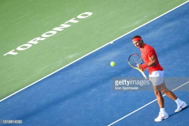 Rafael Nadal celebrates after winning a point at during the Rogers Cup tennis tournament Final on August 12 at Aviva Centre in Toronto ON Canada