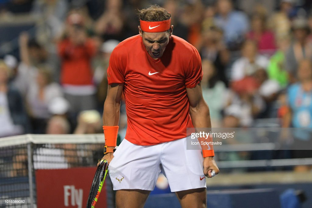 Rafael Nadal (ESP) celebrates after winning his Semi finals match of the Rogers Cup tennis tournament on August 11, 2018, at Aviva Centre in Toronto, ON, Canada.