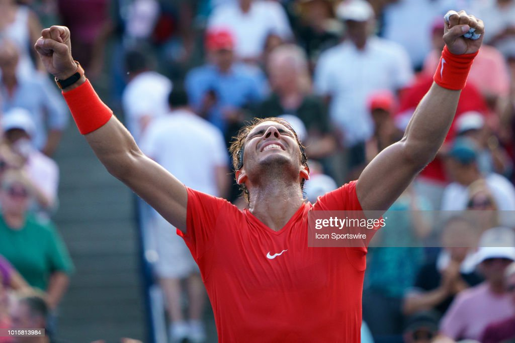 Rafael Nadal (ESP) celebrates after winning the the Rogers Cup tennis tournament Final on August 12, 2018, at Aviva Centre in Toronto, ON, Canada.