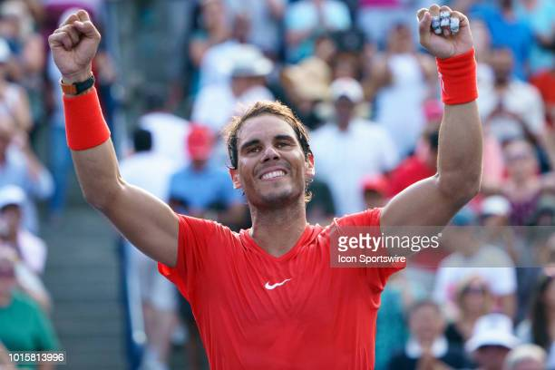 Rafael Nadal celebrates after winning the the Rogers Cup tennis tournament Final on August 12 at Aviva Centre in Toronto ON Canada