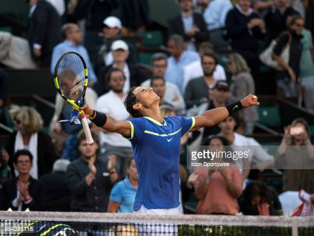 Rafael Nadal celebrates defeating Dominic Theim in the semifinal of the French Open on June 09 2017 at StadeRoland Garros in Paris France