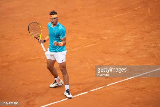 Rafael Nadal celebrates in his Mens Final match against Novak Djokovic during Internazionali BNL D'Italia Italian Open at the Foro Italico Rome Italy...