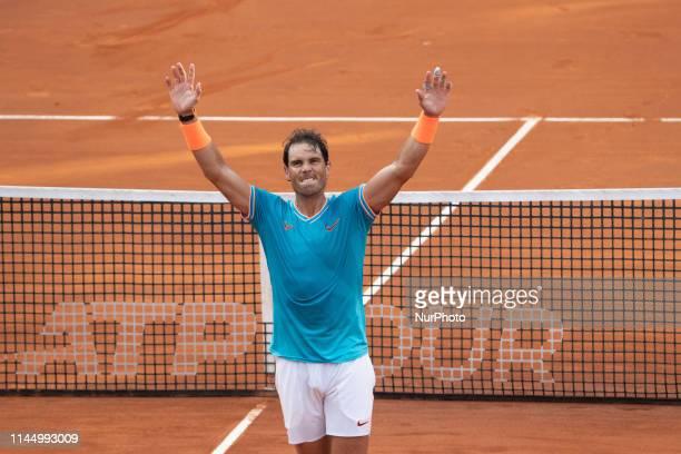 Rafael Nadal celebrates the victory in his Mens Final match against Novak Djokovic during Internazionali BNL D'Italia Italian Open at the Foro...