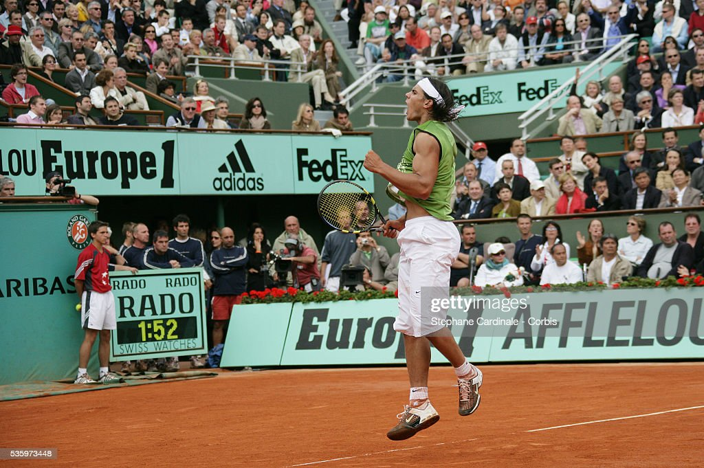 Rafael Nadal celebrates winning a point against Mariano Puerta in the French Open Mens Final at Roland Garros, Paris, France. Nadal won 6-7, 6-3, 6-1, 7-5.