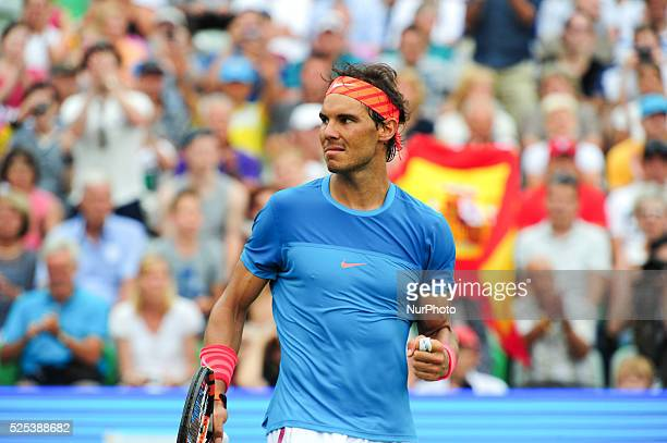 Rafael Nadal cheers after defeating Bernard Tomic with 64 67 63 and advancing to the semi final of the Mercedes Cup in Stuttgart Germany on June 12...