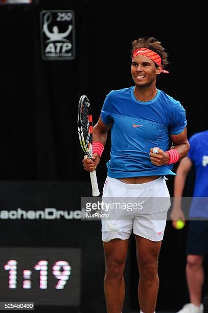 Rafael Nadal cheers after defeating Gael Monfils 63 64 in the Mercedes Cup semifinals in Stuttgart on June 13 2015