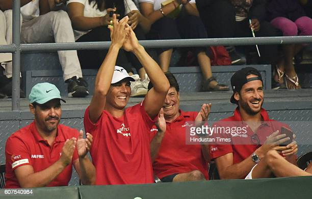 Rafael Nadal cheers as David Ferrer was playing against Ramkumar Ramanathan during Davis Cup Match between India and Spain at DLTA on September 18...