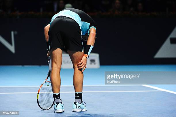Rafael Nadal during a match against Richard Gasquet in the semi finals of the Swiss Indoors at St Jakobshalle in Basel Switzerland on October 31 2015