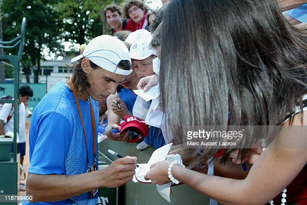 Rafael Nadal during his last training session at Roland Garros on June 8, 2006 before his match against Ivan Ljubicic during the semifinals of the...