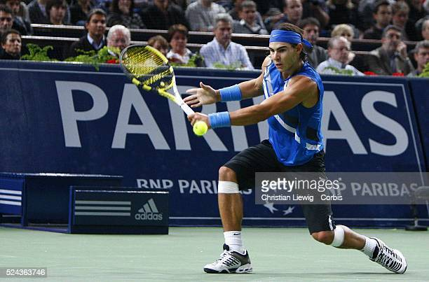Rafael Nadal during his match against Stanislas Wawrinka at the 2007 BNP Paribas Masters tennis tournament