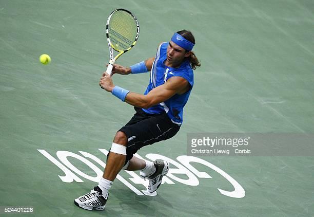 Rafael Nadal during the 2007 BNP Paribas Masters final against David Nalbandian