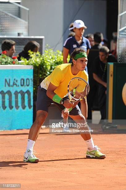 Rafael Nadal during the tennis match on day five of the Mutua Madrilena Madrid Open Tennis 2011 at La Caja Magica on May 4 2011 in Madrid Spain
