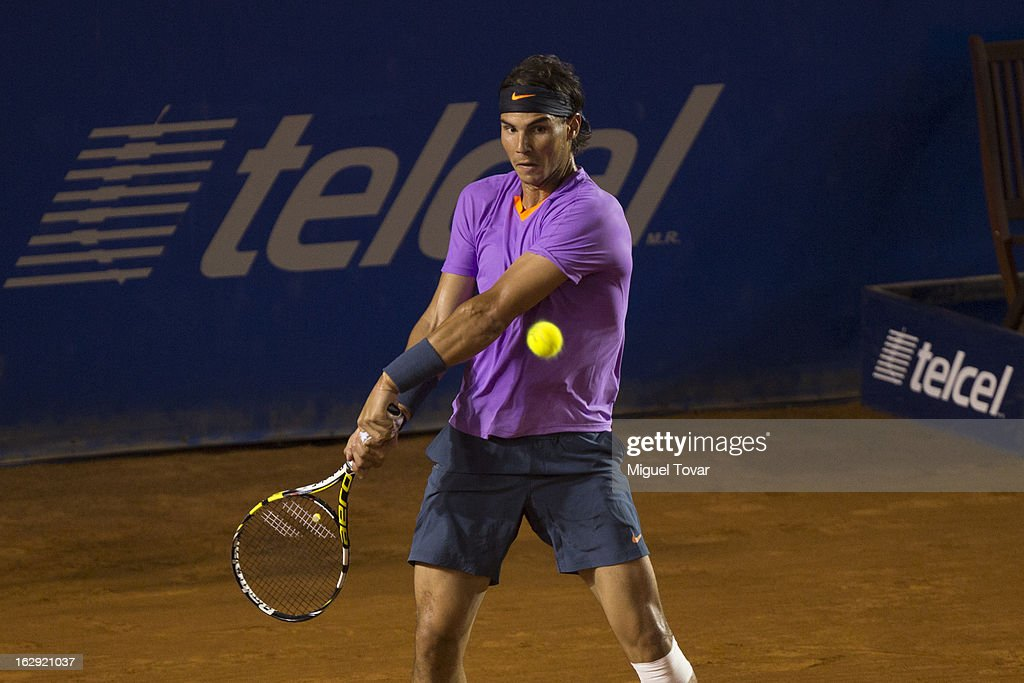 Rafael Nadal from Spain in action during a tennis match against Lorenzo Mayer from Argentina as part of the Mexican Tennis Open Acapulco 2013 at Pacific resort on February 28, 2013 in Acapulco, Mexico.