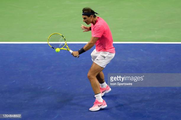 Rafael Nadal hits a backhand volley stroke during the match on March 02, 2020 at Infinite Energy Arena in Duluth, GA.