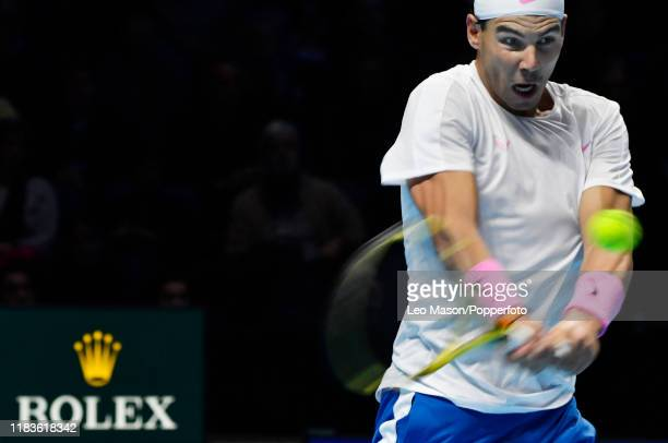 Rafael Nadal in action against Stefanos Tsitsipas during their match on Day Six of the Nitto ATP Finals at The O2 Arena on November 15 2019 in London...