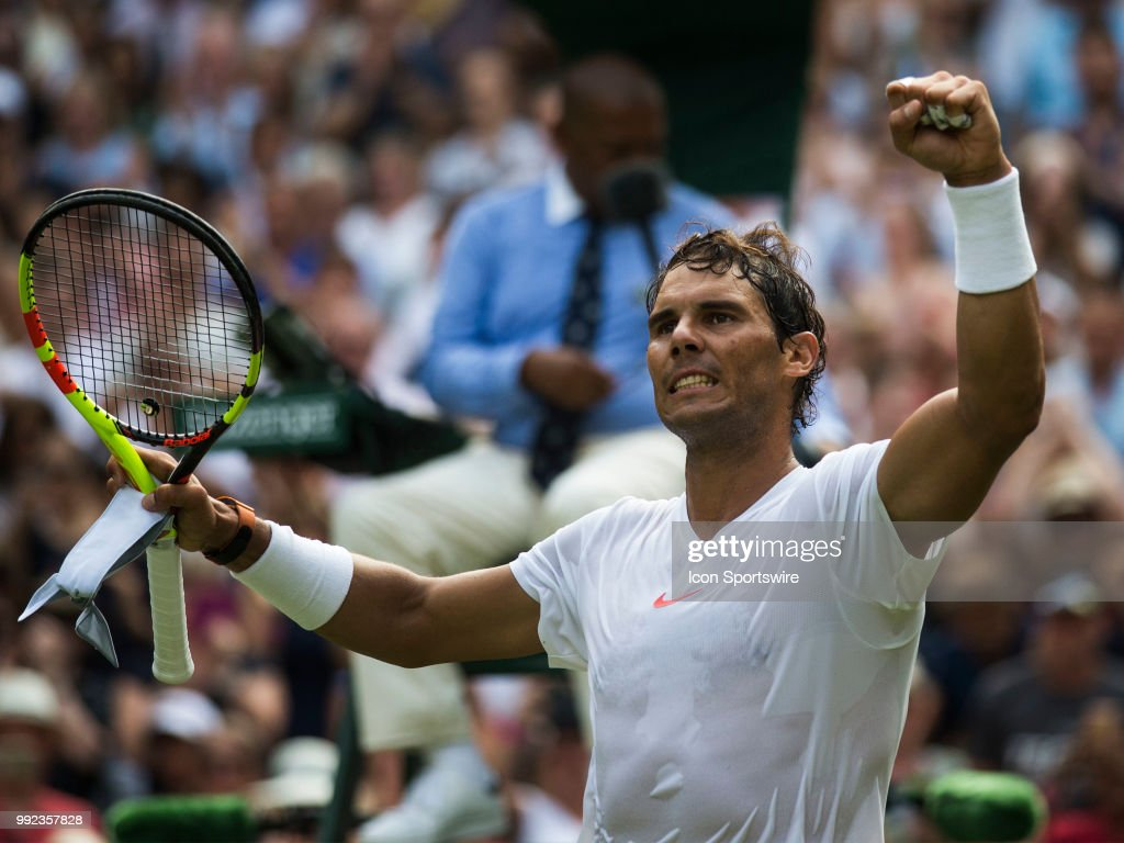 Rafael Nadal (ESP) in action during his second round match on July 5, 2018 at the Wimbledon Championships, played at the All England Lawn Tennis and Croquet Club in London, England.