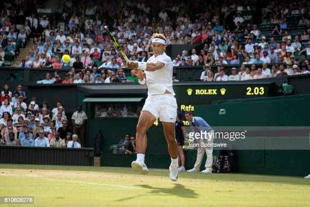 Rafael Nadal in action during his third round of the Wimbledon Championships July 7 at the All England Lawn Tennis and Croquet Club in London England