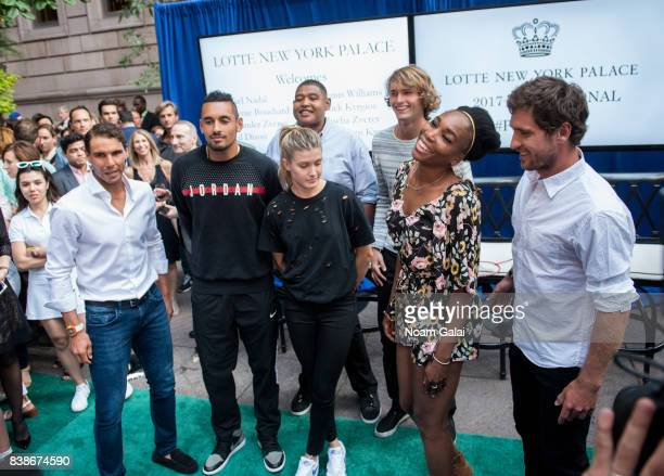 Rafael Nadal Nick Kyrgios Eugenie Bouchard Omar Benson Miller Alexander Zverev Jr Venus Williams and Mischa Zverev attend the 2017 Lotte New York...