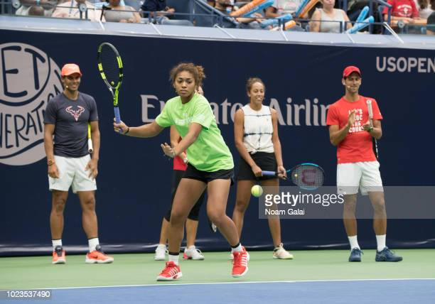 Rafael Nadal, Nicole Hammond, Madison Keys and Novak Djokovic attend the 2018 Arthur Ashe Kids' Day at USTA Billie Jean King National Tennis Center...
