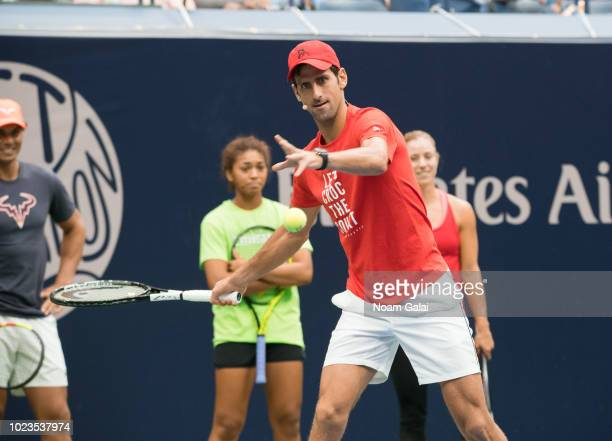 Rafael Nadal Nicole Hammond Novak Djokovic and Angelique Kerber attend the 2018 Arthur Ashe Kids' Day at USTA Billie Jean King National Tennis Center...